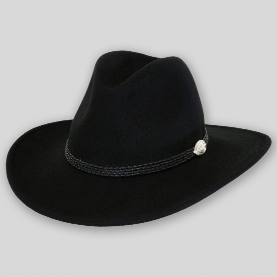 outback trading shy game western crushable wool hat black